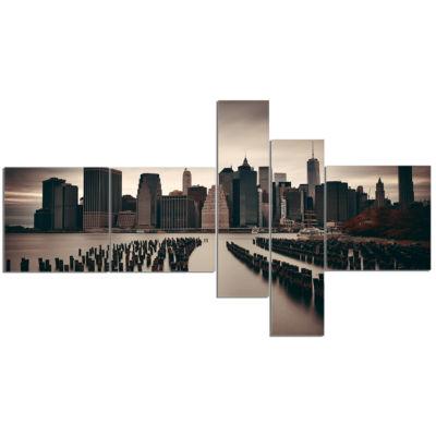 Designart Manhattan Financial District Cityscape Photo Canvas Print - 5 Panels