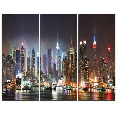 Designart Lit NYC Manhattan Skyline Cityscape Photo Canvas Print - 3 Panels