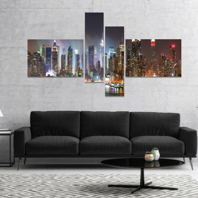 Design Art Lit NYC Manhattan Skyline Cityscape Photo Canvas Print - 4 Panels