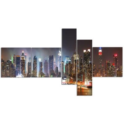 Designart Lit NYC Manhattan Skyline Cityscape Photo Canvas Print - 5 Panels