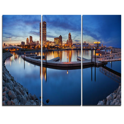 Design Art Milwaukee Panoramic View Cityscape Photo Canvas Print - 3 Panels