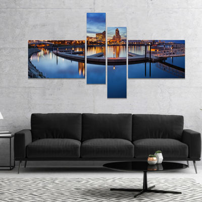 Design Art Milwaukee Panoramic View Cityscape Photo Canvas Print - 4 Panels