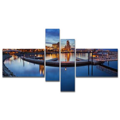Design Art Milwaukee Panoramic View Cityscape Photo Canvas Print - 4 Panels