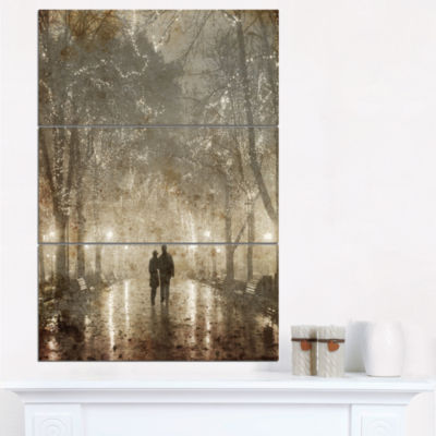 Designart Couple Walking In Night Lights Landscape Photography Canvas Print - 3 Panels