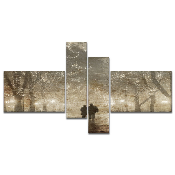 Designart Couple Walking In Night Lights LandscapePhotography Canvas Print - 4 Panels