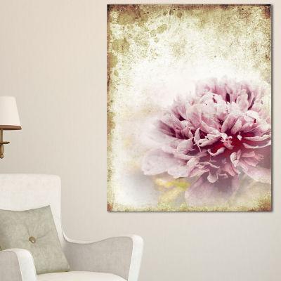Designart Pink Peony In Vintage Style Art Canvas Print