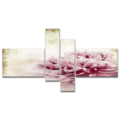 Design Art Pink Peony In Vintage Style Art CanvasPrint - 4 Panels