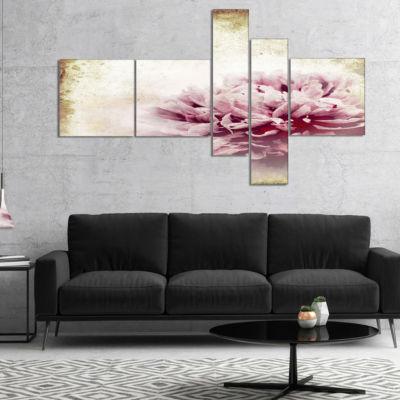 Designart Pink Peony In Vintage Style Art CanvasPrint - 5 Panels