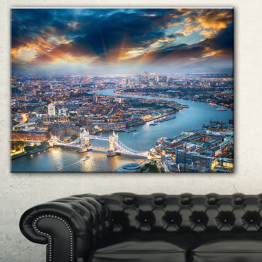 Designart Aerial View Of London At Dusk CityscapePhoto Canvas Print