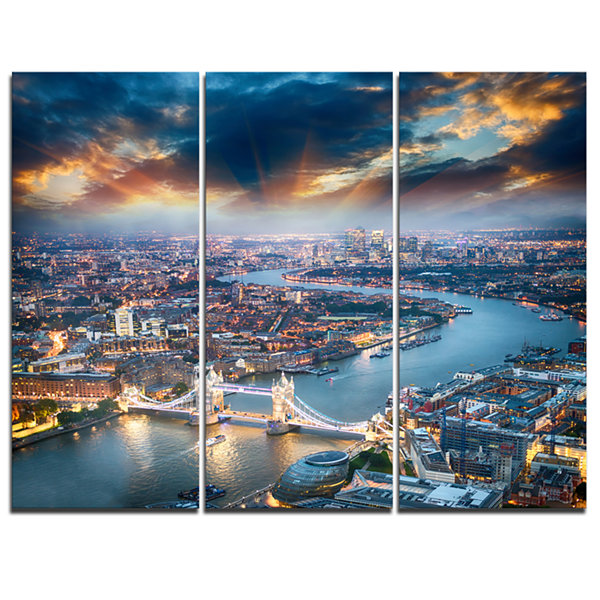 Designart Aerial View Of London At Dusk CityscapePhoto Canvas Print - 3 Panels
