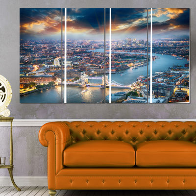 Designart Aerial View Of London At Dusk CityscapePhoto Canvas Print - 4 Panels