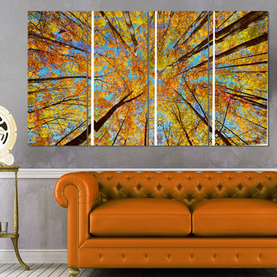Designart Tree Tops In Autumn Forest Canvas Art Print - 4 Panels