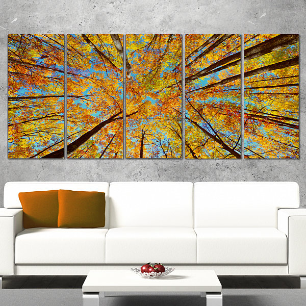 Design Art Tree Tops In Autumn Forest Canvas Art Print - 5 Panels