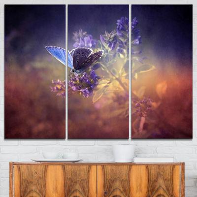 Designart Vintage Butterfly Art Canvas Print - 3 Panels