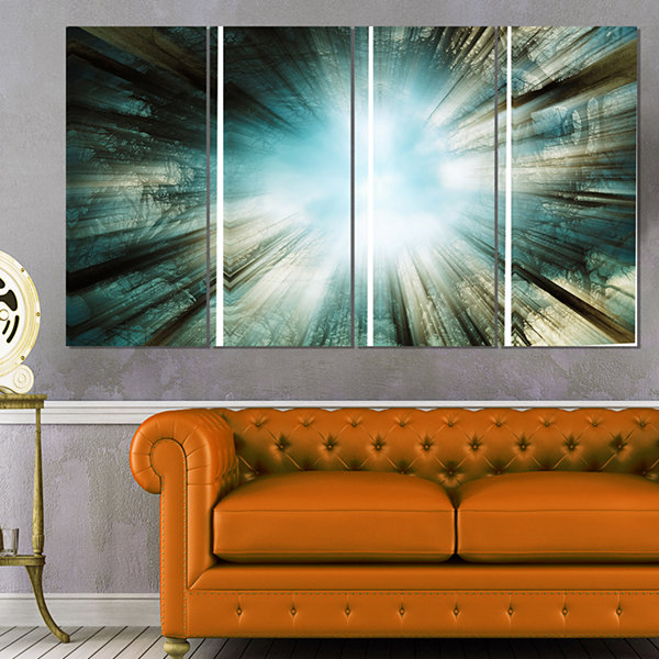 Designart Light From Sky Abstract Canvas Art Print- 4 Panels