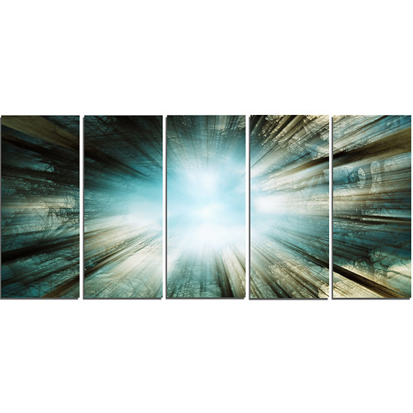 Designart Light From Sky Abstract Canvas Art Print- 5 Panels