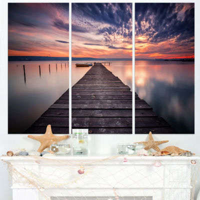 Design Art Colorful Sunset Over Lake Landscape Photography Canvas Print - 3 Panels