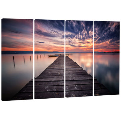 Designart Colorful Sunset Over Lake Landscape Photography Canvas Print - 4 Panels