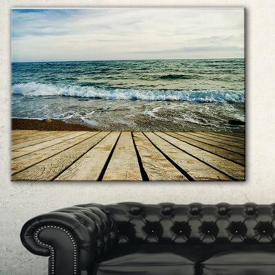Designart Wooden Pier In Waving Sea Seascape Canvas Art Print