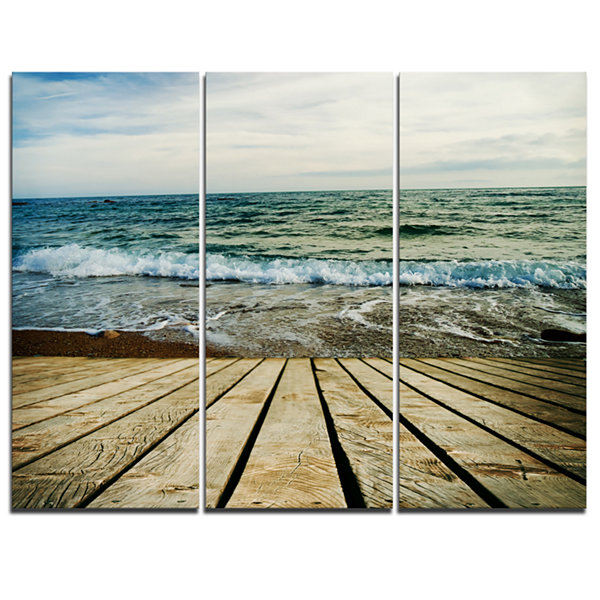 Designart Wooden Pier In Waving Sea Seascape Canvas Art Print - 3 Panels