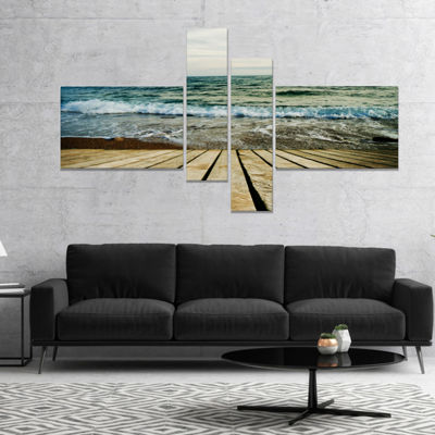 Designart Wooden Pier In Waving Sea Seascape Canvas Art Print - 4 Panels