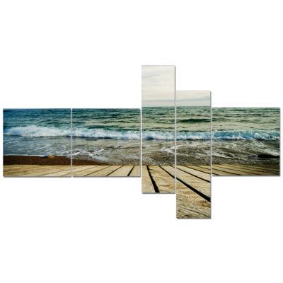 Designart Wooden Pier In Waving Sea Seascape Canvas Art Print - 5 Panels