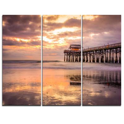 Designart Cocoa Beach Florida Landscape Photo Canvas Art Print - 3 Panels