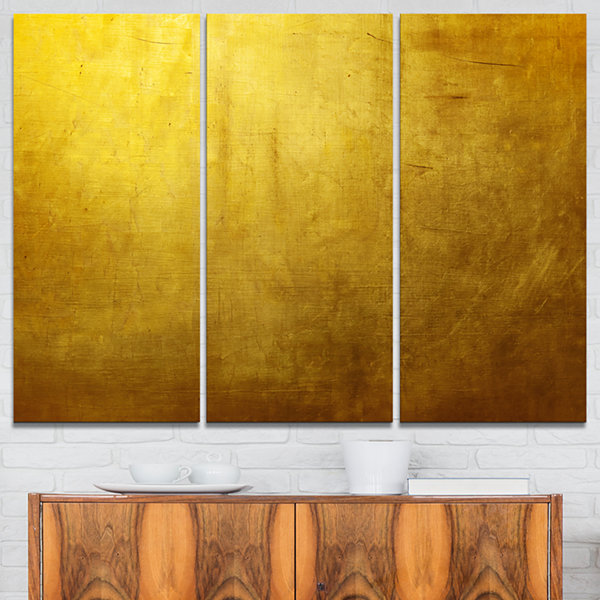 Designart Gold Texture Abstract Canvas Art Print-3Panels