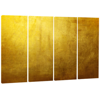 Designart Gold Texture Abstract Canvas Art Print -4 Panels