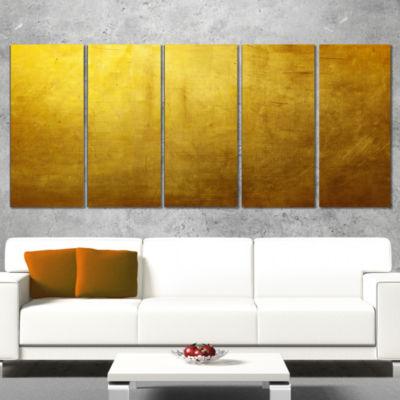 Designart Gold Texture Abstract Canvas Art Print -5 Panels
