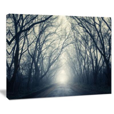 Design Art Dark Autumn Forest In Fog Photography Canvas Art Print