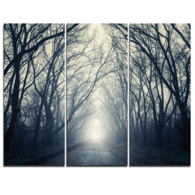 Designart Dark Autumn Forest In Fog Photography Canvas Art Print - 3 Panels