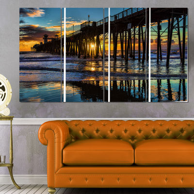 Designart Oceanside Pier At Evening Landscape Photography Canvas Print - 4 Panels