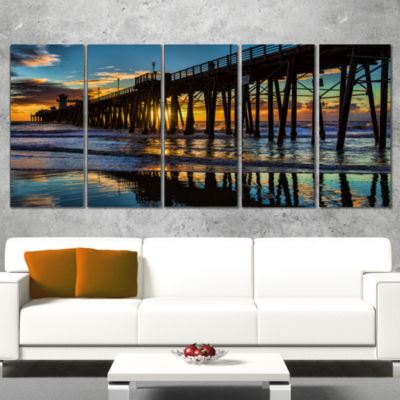 Designart Oceanside Pier At Evening Landscape Photography Canvas Print - 5 Panels