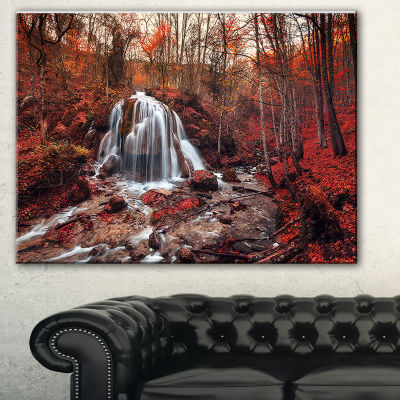 Designart Silver Stream Waterfall Close Up Landscape Photography Canvas Print