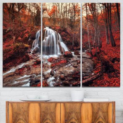 Designart Silver Stream Waterfall Close Up Landscape Photography Canvas Print - 3 Panels