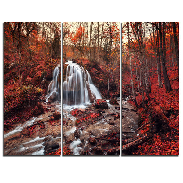 Design Art Silver Stream Waterfall Close Up Landscape Photography Canvas Print - 3 Panels
