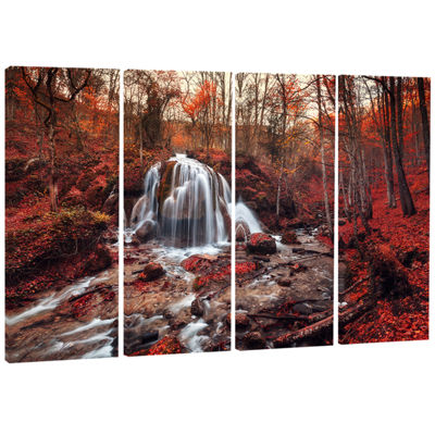 Design Art Silver Stream Waterfall Close Up Landscape Photography Canvas Print - 4 Panels