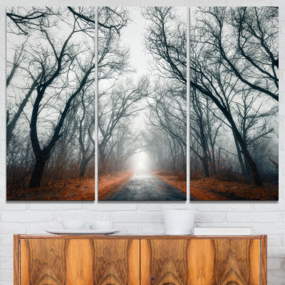 Designart Mystic Road In Forest Landscape Photography Canvas Print - 3 Panels
