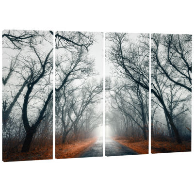 Design Art Mystic Road In Forest Landscape Photography Canvas Print - 4 Panels