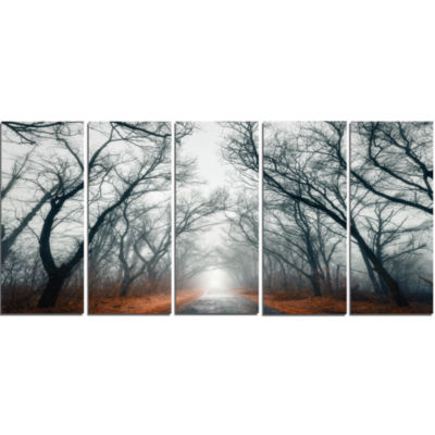 Designart Mystic Road In Forest Landscape Photography Canvas Print - 5 Panels