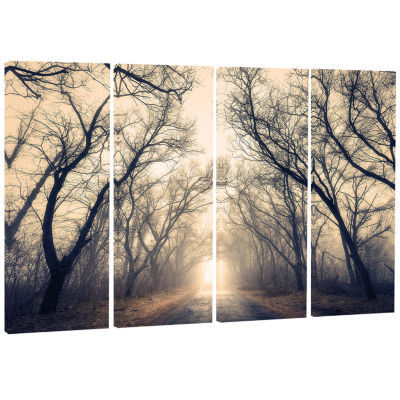 Designart Vintage Autumn Forest In Fog Landscape Photography Canvas Print - 4 Panels