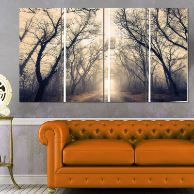 Designart Vintage Autumn Forest In Fog LandscapePhotography Canvas Print - 4 Panels