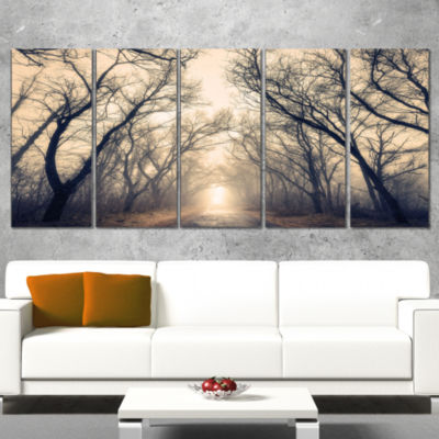 Design Art Vintage Autumn Forest In Fog LandscapePhotography Canvas Print - 5 Panels