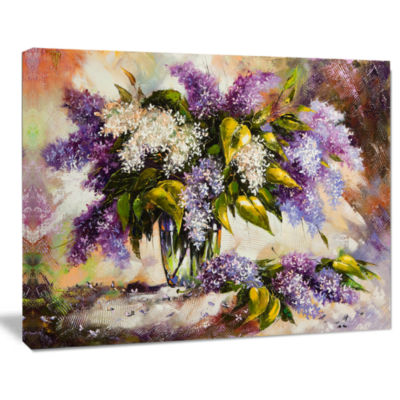 Design Art Lilac Bouquet In A Vase Floral Painting Canvas Art Print