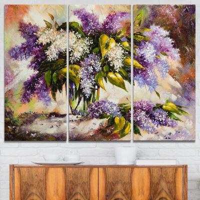 Designart Lilac Bouquet In A Vase Floral PaintingCanvas Art Print - 3 Panels