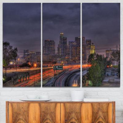 Designart Los Angeles Dark Skyline Cityscape PhotoCanvas Print - 3 Panels