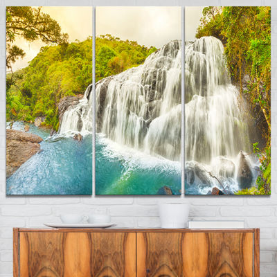 Designart Bakers Falls Panorama Landscape Photography Canvas Print - 3 Panels