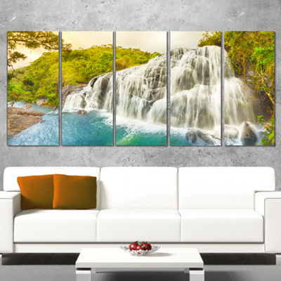 Designart Bakers Falls Panorama Landscape Photography Canvas Print - 5 Panels