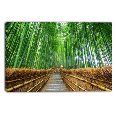 Design Art Path To Bamboo Forest Landscape Photography Canvas Print